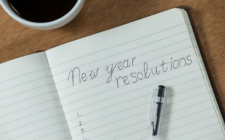 new year's resolutions written in notebook
